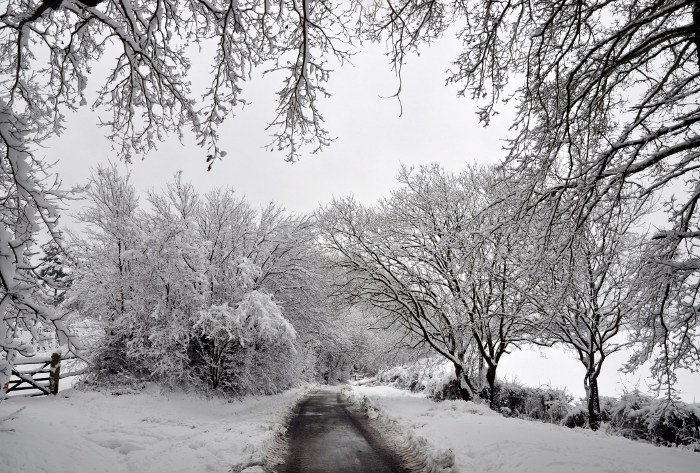Parish Lane, Pease Pottage, under snow