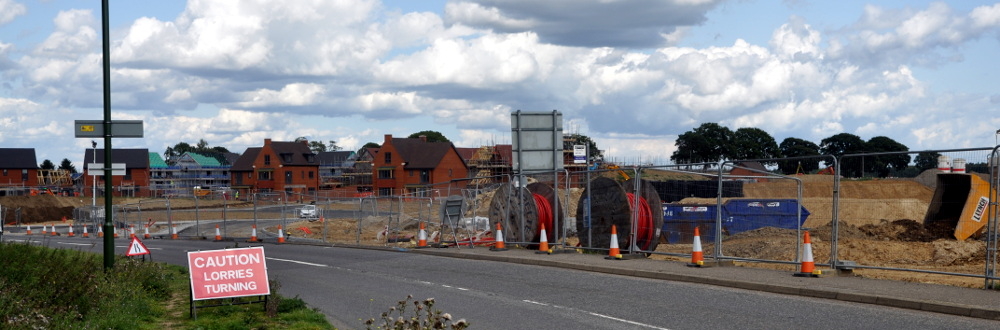 Roadworks opposite the entrance to the service station, Pease Pottage, 13 August 2019
