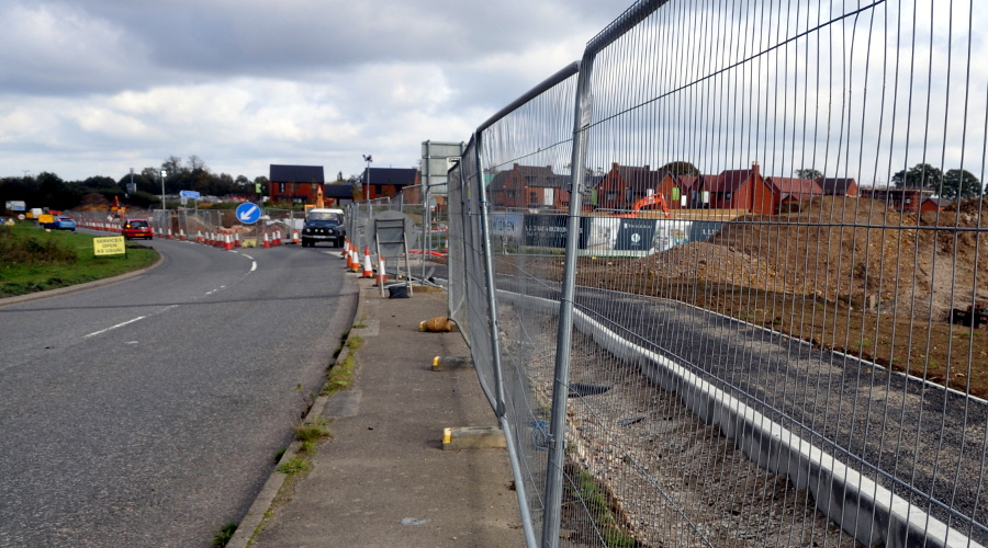 Site of new bus stop, Pease Pottage, 20 October 2019
