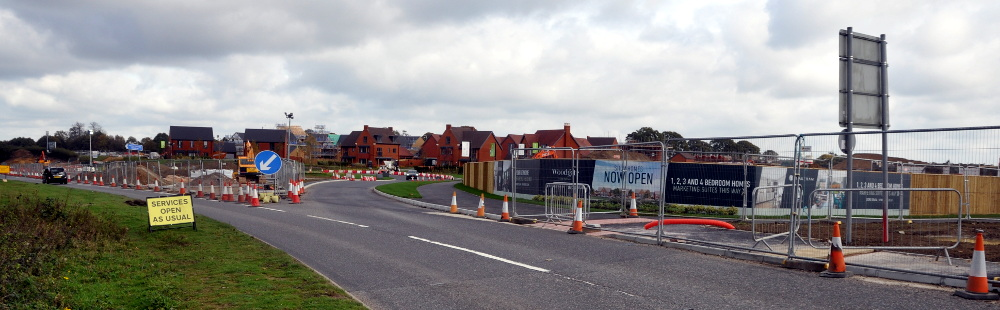 Housing estate and uncompleted roundabout, Pease Pottage, 20 October 2019