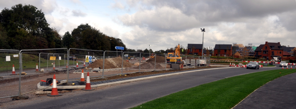 New road layout opposite the service station, Pease Pottage, 20 October 2019