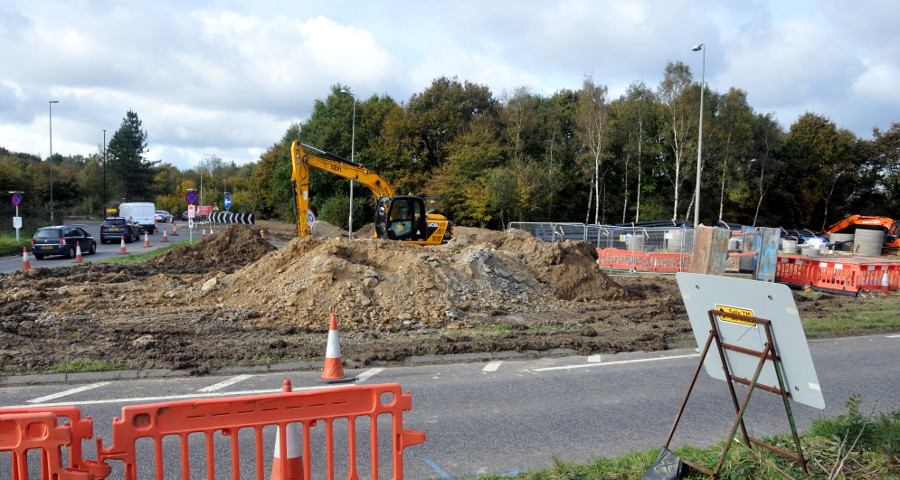 A23/M23 roundabout, Pease Pottage, 20 October 2019