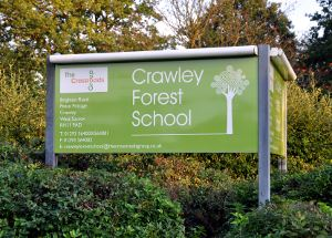 Entrance to Crawley Forest School, Pease Pottage