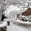 Horsham Road, Pease Pottage, in winter