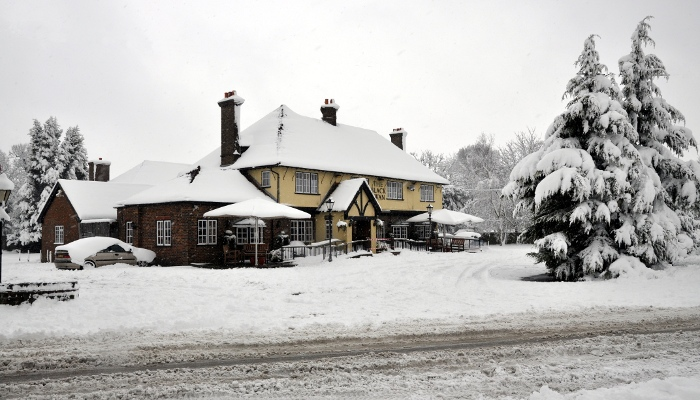 Black Swan pub, Pease Pottage, in winter 2010